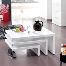 design coffee table rotating in white high gloss with 3 tops triplo round swivel