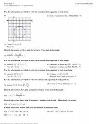 worksheet 7 conic sections review use