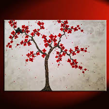 large textured cherry blossom and love bird painting white with red flowers impasto texture huge art
