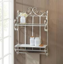 regal white wall shelf two shelves and hanging bars