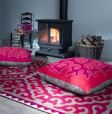 decorating with floor pillows. Plain With View In Gallery Cozy Nook Next To The Fireplace Throughout Decorating With Floor Pillows S