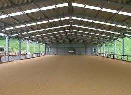 66ftx130ft indoor arena with a glass walls for natural lighting and an outdoor ring horse barnshorse