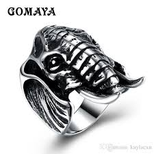<b>GOMAYA</b> Silver Gold Color <b>Vintage</b> Elephant Ring High Quality Men ...