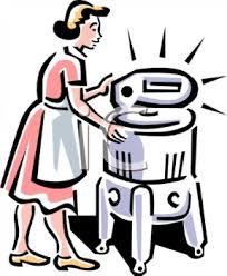 washing machine clipart. vintage woman using a washing machine - royalty free clip art illustration clipart