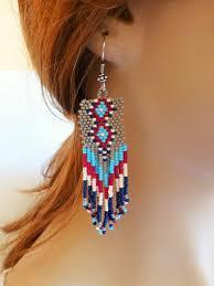 handmade fancy beaded chandelier earrings grey blue long handmade beaded chandelier earrings p