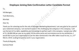 Offer Letter Acceptance Mail Format Employee Joining Date Confirmation Letter Candidate Format