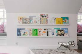 kid room with stacked book ledges