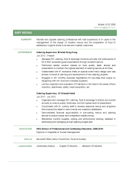 Catering Manager Resume Resume Templates