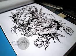 сообщество иллюстраторов иллюстрация эскиз тату цветы пионы