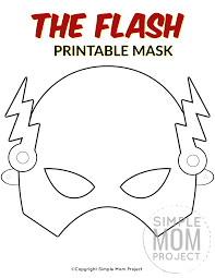 Color in masks for kids: The Flash Free Printable Mask Template Face Masks For Kids Mask For Kids Mask Template Printable