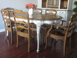 R Furniture Carving Brown Wooden Chairs And White Dining  Table With Oval Top