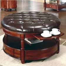 abbyson living havana round leather coffee table gold brown