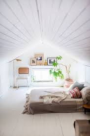 Small Attic Room Design Ideas L Shaped Brown Wooden Desks Maple Wood Bed  Furniture White Master