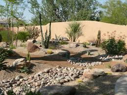 amazing desert landscaping ideas with small plants also brown smooth sands plus rocks backyard landscaping ideas rocks