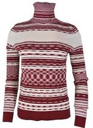 Details About New Tory Burch Womens Julie 298 Burgundy Red Striped Turtleneck Sweater