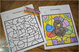 All coloring pages in printable pdf format. Free Thanksgiving Color By Number Addition