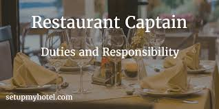 Catering Manager Job Description Magnificent Restaurant Captain Duties And Responsibility