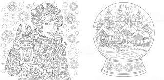 Coloring Pages With Winter Girl And Christmas Snow Globe Stock