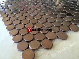 Penny round mosaic tile SMMT020 gold metal mosaic wall tiles backsplash  stainless steel metallic tile round
