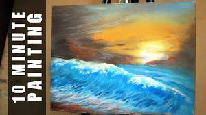 painting a large sunset beach wave landscape with acrylics in 15 minutes you