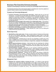 Executive Summary Business Plan Template Free Fstz Info