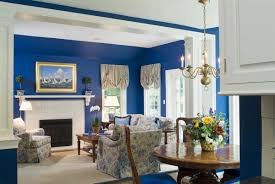 Living Room:Fancy Blue Themed Colour Scheme For Modern Classic Living Room  Feat Floral Chairs