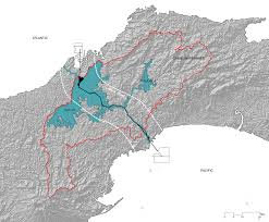 isthmus on the canal expansion  canal watershed map by the authors