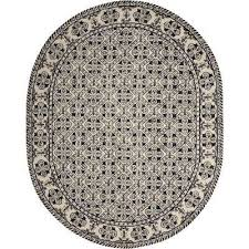 country heritage black white 8 ft x 10 ft oval area rug