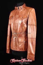 las sahara tan washed lambskin leather safari hip length biker style belted womens coat jacket customjackets