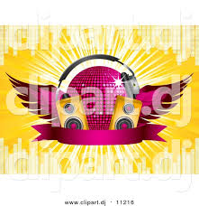 dj speakers clipart. vector clipart of a 3d pink winged disco ball with headphones, music speakers and dj