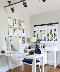 Office lighting ideas Stylish All White Furniture And Wall Interior Color Decor For Small Home Office Design With Black Ceiling Track Lighting Ideas And Wooden Desk With Wheels And White Kinggeorgehomescom All White Furniture And Wall Interior Color Decor For Small Home