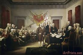 signing the declaration of independence painting print