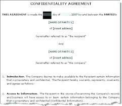 Simple Nda Template Free Sample Basic Confidentiality Agreement Template And Simple Nda Non