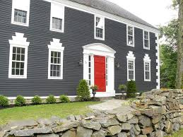 red door grey house. Dark Grey House With Red Door Ideas And Images Pinterest