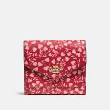 Lyst - Coach Small Wallet With Love Leaf Print in Red