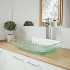 glass bathroom sinks. Save. VIGO. Glass Rectangular Vessel Bathroom Sink With Faucet Sinks B