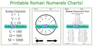 Roman Numerals Chart For Kids Roman Numerals Chart Roman Numeral Conversion Worksheets
