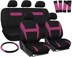car seat covers for honda accord pink black w steering wheel belt pad head rest