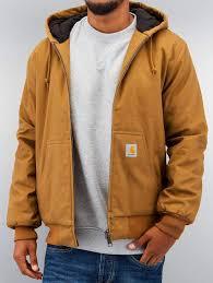 carhartt wip men winter jacket dearborn canvas active in brown men s clothing brown i015278hz00 xufezmq
