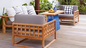 wooden patio furniture with cushions