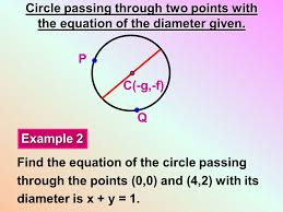 13 circle passing through two points with the equation of the diameter given