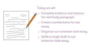 lesson counterclaims and the extension task rough draft view resource copy resource id