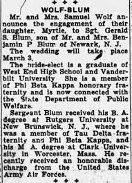 Myrtle Wolf Gerald Blum Engagement Announcement Nashville TN 1946 The  Tennessean - Newspapers.com