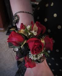 wrist corsage with gold sequence