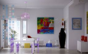 bright colorful home. Interior Designs:Fascinating Bright Color Schemes For Modern Dining Room With Small White Gloss Table Colorful Home C