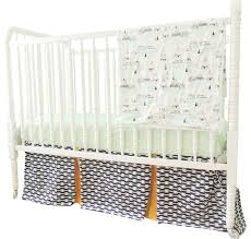 perless aztec crib bedding in navy blue gold and mint