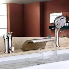 waterfall roman tub faucets brushed nickel waterfall roman bath tub faucet filler and hand shower willis