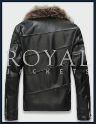 royal leather faux fur leather jacket for men