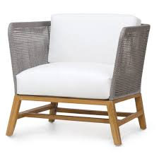 silver brushed metal chair woven. Palecek Avila Modern Grey Rope Woven Teak Outdoor Lounge Chair - Salt Silver Brushed Metal