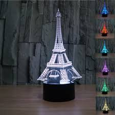 creative eiffel tower 3d bedside table lamp 7 color change kids led night light touch lava